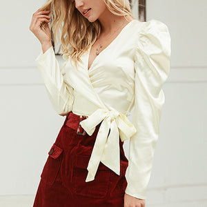 Women Satin Crop Tops and Blouse Fashion V Neck Wrap Blouse Shirt Vintage Puff Sleeve Blusas Faminina