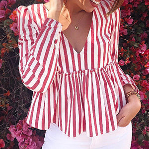Fashion Red Stripe Women Tops and Blouse Winter V Neck Slim Long Sleeve Shirt Casual Mujer Plus Size Blusa
