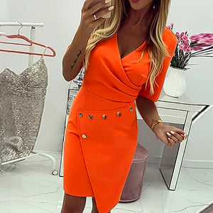 Sexy Orange Bodycon Dress Women Ruffles V Neck Button Dresses Long Sleeve Dress Vestidos