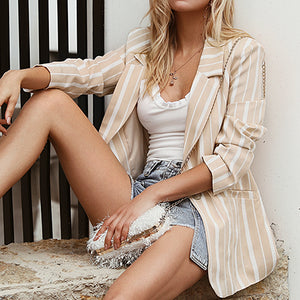 High Fashion Blazers Coats Women Stripe Turm Down Casual Blazer Jackets Female Business Chic Coat