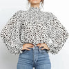 Elegant Turtleneck Blouse Tops Women Vintage Lantern Sleeve Blouse Shirts Leopard Print Winter Blusas Femininas