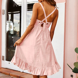 Casual Party Elegant Spaghetti Strap Dress Women Casual Lace Up Dress Bow Pink Solid Dresses Vestidos