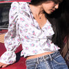 Women Vintage Ruffle Crop Tops and Blouse Female  Fashion Wrap Lace up Short Shirt Mujer Bell Sleeves Blusa