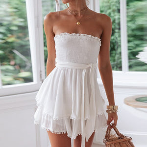 Women Jumpsuit Off Shoulder Ruched Linen Jumpsuit Summer Tassel Plus Size Romper Sexy Holiday Beach Overall Jumpsuts