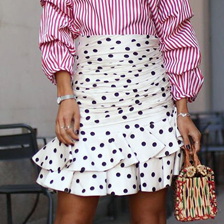 Women Vintage Polka Dot Skirt High Waist Bodycon Ruffle Mini Skirt Fashion White Ruched Skirt Faldas