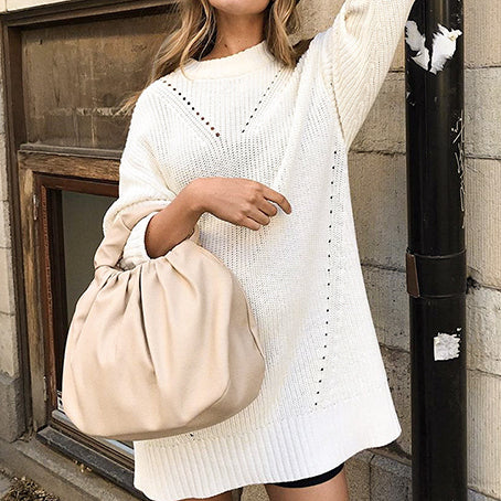 Women  Sweater Dress Fashion White Knitted Short Dress Female Long Sleeves Long Sweaters Chic Dress