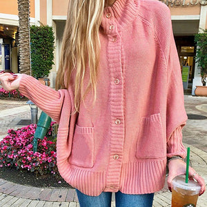 Casual Pink Cardigans Sweater Women Knitted Cardigans Pocket Batwing Button Cardigan Knitwear