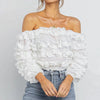 Sexy Off Shoulder Solid Women Blouse Shirts Ruffles Cluster Casual Blouses Half Sleeve Blusa Mujer