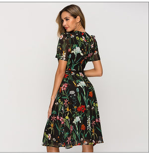 Women Short Sleeve Printing Dress for Female New Fashion Chiffon Slim A-line Dress Bohemian Summer Midi Dresses