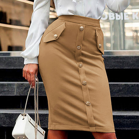 Women Solid Color Skirt High Waist Button Bodycon Skirt Female Business Chic Office Lady Thin Skirts