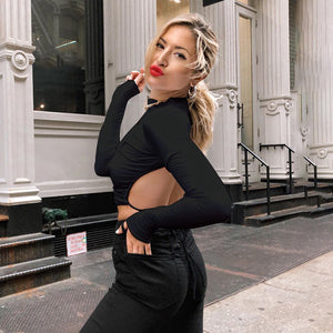 Solid Lace Up Hollow Out O Neck Long Sleeve T Shirt Autumn Women Backless Elastic Slim Crop Top Female Streetwear