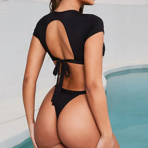 Crop Top Short Sleeve Sexy Female Swimsuit Hollow Out Push Up Swimwear Women Bathing Suit Beach Wear
