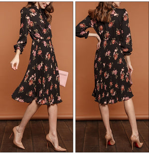 Women Black Flower Print A-line Dress Autumn Elegant New Fashion Party Vestidos Casual Pleated Midi Dress for Female