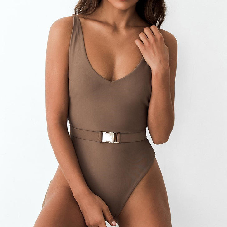High Cut Bikinis Mujer Sexy Brazilian Swimsuit One Piece Swimwear Women Push Up Bathing Suit V-Neck Bathers Monokini