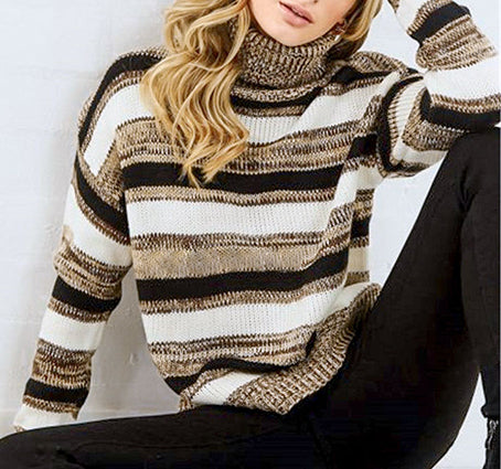 Casual Stripe Sweater Turtle Sweaters Jumper Pullovers Plus Size Sweater Knitted Sweater Knitwear
