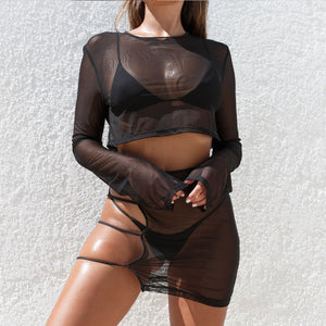 Women Nightclub Sexy Crop Top and Skirt Matching Sets Mesh Hollow Bodycon Beach Dresses