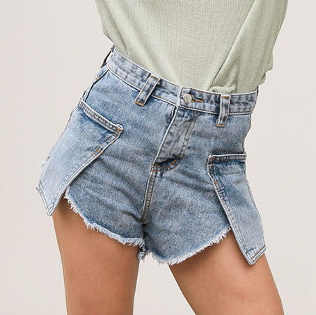 Women Shorts Fashion Pocket High Waist Shorts Female Casual Chic Burr Shorts Mujer Beach Holiday Short Pants
