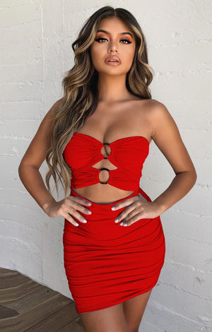 Women Ruched Hollow Out Backless Club Party Mini Bandage Sexy Tube Dress