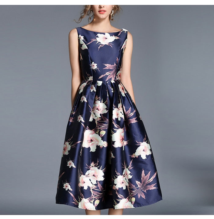 Women Vintage Stylish Sleeveless Dress Elegant A-line Dress Rerto Autumn Fashion Elegant Sexy Midi Vestidos