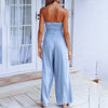 Top High Waist Jumpsuit Women Hollow Out Wide Leg Long Rompers Female Fashion Lace Up Plus Size