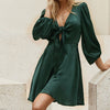 Women Short Dress Female Fashion V Neck Bow Satin Mini Dress Mujer High Waist Lantern Sleeves Vestido