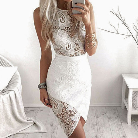 Sexy Party Lace White Dress Women Hollow Out See Through Dresses Bodycon Slim Sleeveless Mini Dress Vestidos