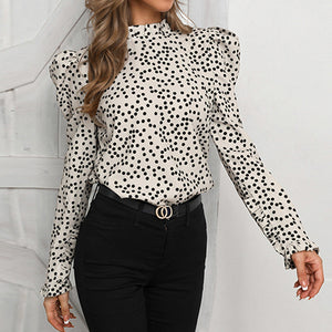 Polka Dot Vintage Women Blouse Shirt Elegant Female Blouse Shirts Turtleneck Puff Long Sleeve Blusa Mujer