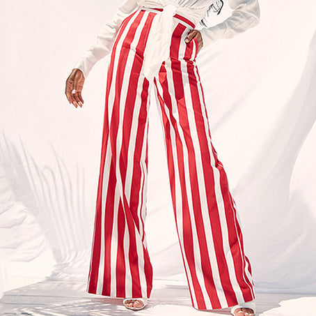 Fashion Red White Stripe Trousers Women  High Waist Wide Leg Long Pants Chic High Street Mujer Capris