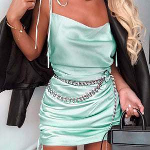 Ruched Dress Women Solid Green Spaghetti Strap Short Dress Sexy Mini Lace Up Straight Dresses Vestidos Plus Size