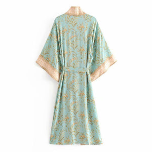 Vintage Chic Women Green Floral Print Bat Sleeve Rayon Beach Bohemian Robe Kimono Ladies V Neck  Sashes  Boho Dress Vestidos