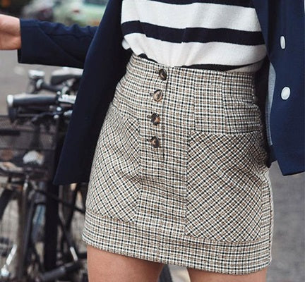 High Waist Skirts Women Button Casual Plaid Female Short Skirt Elegant Pocket Ladies Skirt