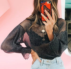 Women Mesh Tops and Shirt Lantern Sleeves Sequin Turtleneck T-Shirt Female Sexy See Through Blusa