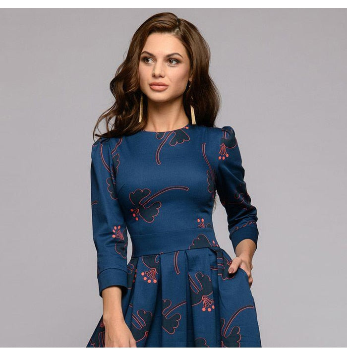 Women Printing Midi Dress  Fashion O-neck Slim Autumn Dress Female Casual A-line Vestidos Dress