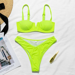 Women Sexy Neon Bikini Bathers V-Neck Swimwear Bathing Suit Push Up Thong Swimsuit Female Bath High Cut Summer Bathers New