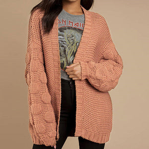 Women Cardigan Fashion Lantern Sleeves Loose Long Knitted Jackets Female Casual Chic Sweater Coats