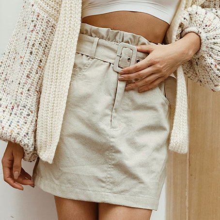 Women short Skirts Female Fashion High Waist Belt Office skirt Chic High Street Straight Mini Skirts