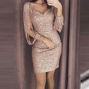 Dresses Woman Party Dress Bodycon Sexy Sequin Dress Night Shiny Dress Tassel Glitter Dresses For Evening Robe
