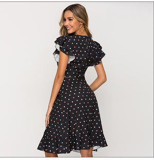 Sexy Waist Hollow Out Women Dress Summer O-neck Dot Point Chic Dress Female Slim Fashion A-line Summer Vestidos