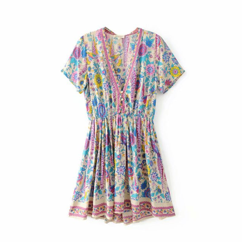 Vintage Chic Women Peacock Floral Print Deep V-neck  Bohemian Mini Dress  Ladies Short Sleeve Boho Happie Dresses Vestidos