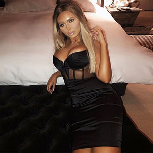 Sexy Rayon Bandage Dress New Arrivals Mesh Insert Women Bandage Dress Black Party Night Club Bodycon Dress