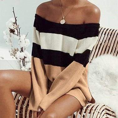 Casual Knitted Off Shoulder Sweater Women Sweater Jumper Loose Sexy Stripe Patchwork Knitwear Female Sweater