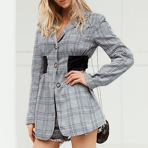 Women Jacket High Fashion Blazer White Black Plaid Velvet Patchwork OL Female Coats