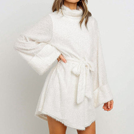 Knitted Dress Women Casual Turtle Bow Sweater Dress Solid Plus Size Ladies Dresses Vestidos