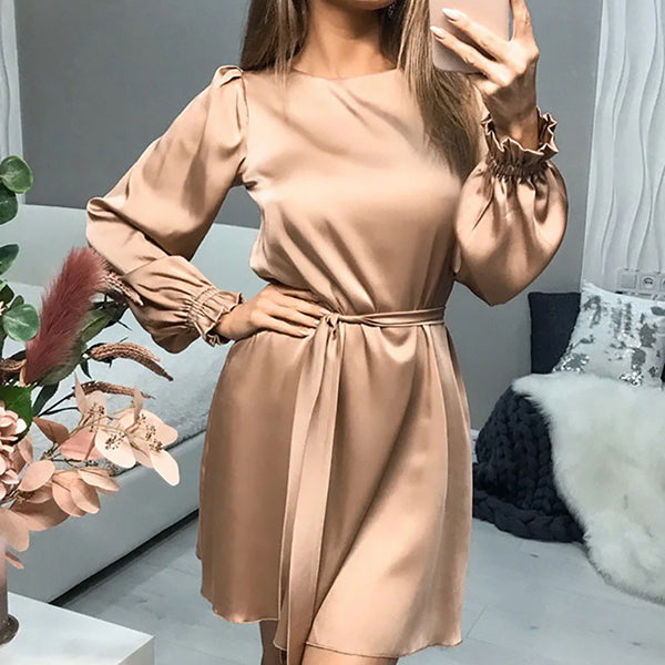 Sexy Satin Lace Up Women Dresses Elegant Solid O Neck Long Sleeve Mini Dress Casual A Line Slim Lady Party Dress