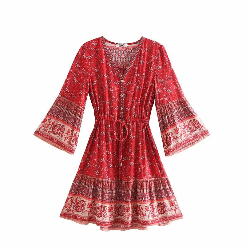 Vintage Chic Women Hippie Floral Print  Tassel V-neck  Bohemian Mini Dress Summer Ladies Flare Sleeve  Boho Dresses Vestidos