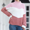 Women Turtleneck Sweaters Long Sleeve Knitted Tops Jumpers Female Fashion Color Block Chenille Sweater Pullovers
