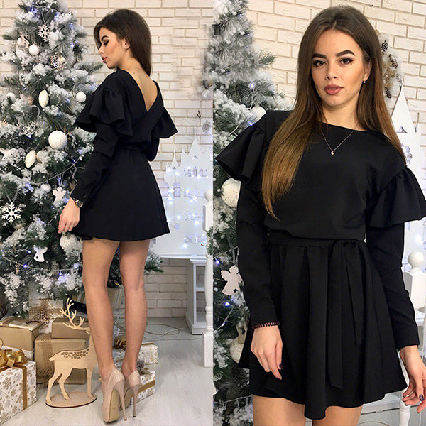 Women Sashes Ruffled a Line Party Dress Ladies Long Sleeve O Neck Elegant Dress Female Solid Mini Dress