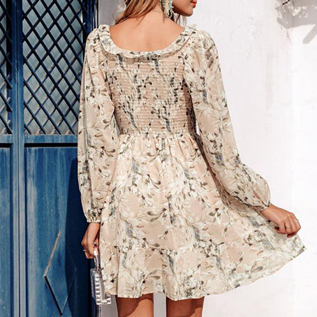 Women Floral Print Long Sleeve Short Dress Feminino Square Collar Ruffle Chiffon Dress Girl Casual Holiday Dress