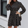 Female Sexy Polka Dot Dress Solid Color Long Sleeve Stand Collar Elegant Mini Dresses Casual Party Daily Women Dress New