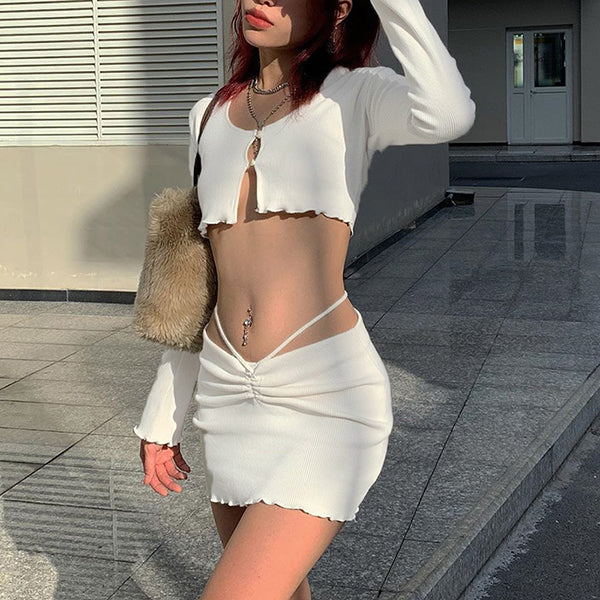 ribbed lace up hollow out women 2 piece set crop top cardigan mini skirt bodycon sexy streetwear club matching outfit